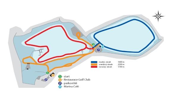 Zimní běžecké tratě na Kamencovém jezeře