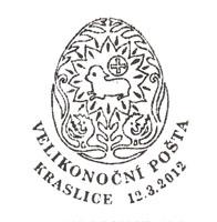 Velikonoční pošta - otisk razítka, Kraslice 2012 | Česká pošta, a.s.