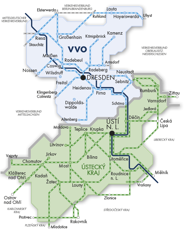 Přehled platnosti jízdenky Labe/Elbe | Krušnohorci