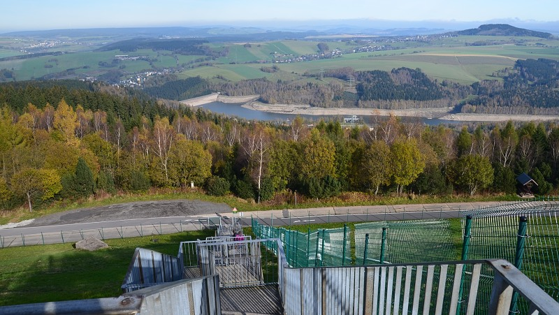 Pohled na spodní nádrž VE Markersbach