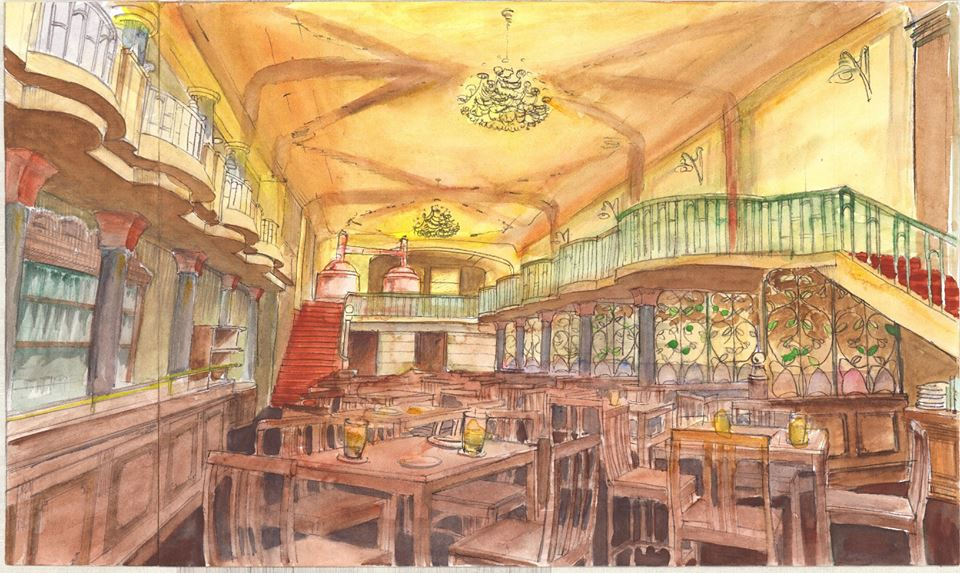 Skica láká na honosné prostory v prvorepublikovém stylu | Pivovar Monopol