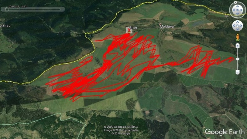 Moldava snowkite spot track