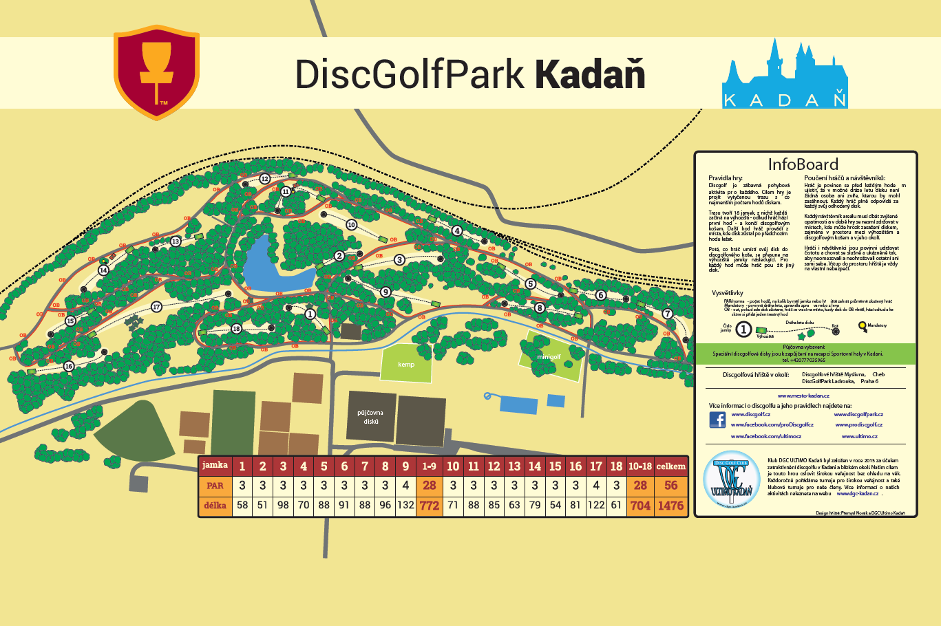 Discgolf Kadaň - plánek | Krušnohorci